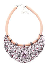 Layla Chrome Bib & Diamond Droplet Centre Nude Chord Statement Necklace(Ns16)