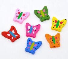 10 bunte Holzperlen Schmetterlinge 23 x 20 mm ( 0,28 € / Stck.)
