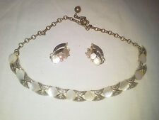 Vintage Necklace / Choker and Earring Set with Mother Of Pearl Accents