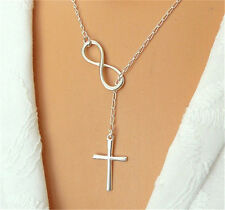 New Fashion Women Lucky 8 Cross Pendant Charm Plated Chain Necklace Jewelry