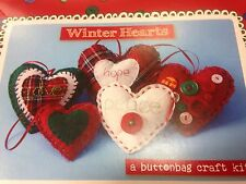 Buttonbag Winter Hearts MYO fabric button sewing kit 6+ xmas project crafts