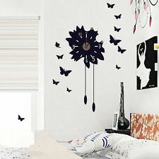Removable Modern Black DIY Butterfly Flower Sticker Home Decor Wall Clock
