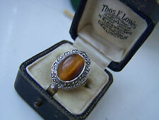 GORGEOUS VINTAGE STERLING SILVER TIGERS EYE MARCASITE RING UNUSUAL RARE SIZE L