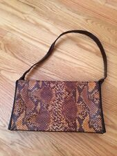 Nicole Miller Faux Lizzard Brown Leather Handbag Purse Bag. Gorgeous.