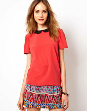 MAISON SCOTCH CORAL BLACK SILK PETER PAN COLLAR TOP 2 S 10 6 38!