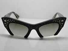 NEW MIU MIU SMU 02Q 1AB-4M1 Black Marble Cat-Eye Crystal 50mm Sunglasses