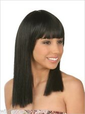USA Black Full Wig with Bangs Cleopatra Halloween Costume Blunt cut Cleo