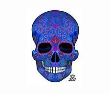 "2 SUGAR SKULL 2pack Dia de los Muertos Day of Dead 4"" DECAL STICKERS -Blue/2pack"