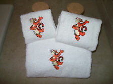 Embroidered Personalised Tiger 3 Piece Towel Set-Bath,Hand,Wash Cloth