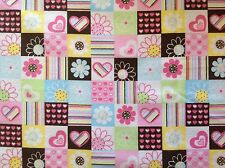~FLANNEL~Daisies~Hearts~Pink~Flowers~Quilting~Fabric~Daisy~Girls~Flannelette~ FQ