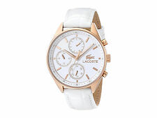 LACOSTE WOMEN'S WHITE LEATHER ROSE GOLD TONE MULTI EYE DATE WATCH * 2000874