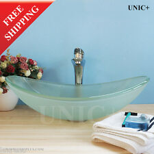 Designer Bathroom Oval Frosted Glass Vessel Sink Bowl Free Drain BVG012