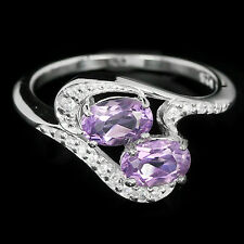 NATURAL Purple AMETHYST & White Cubic Zirconia .925 Sterling Silver RING S6.25