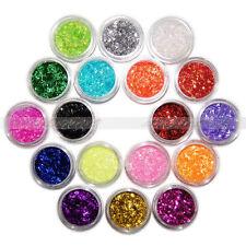 18x pezzi Colori Glitter Polvere Corto Striscia Pizzo Acrilico Nail Art Tips