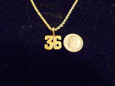 bling gold plated sport didget number 36 pendant charm chain hip hop necklace gp