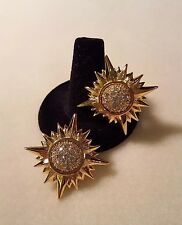 Swarovski Crystal Swan Signed Sunburst Earrings