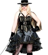 DOMINATRIX BANDITA Halloween Costume ZORRO BLACK DRESS 1x 14 16 18 PLUS SIZE XL