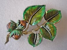 beautiful vintage Exquisite brand enamelled brooch with hazel nuts
