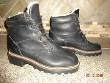 Vintage Womens Sz 8.5B Black Leather Boots 100% Pure Wool Lined Made in CANADA