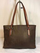 Vintage FOSSIL Brown Pebbled Leather Satchel Shopper Tote Purse Shoulder Bag