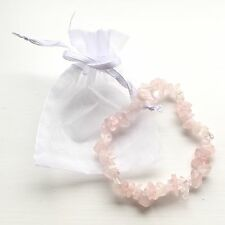 Rose Quartz Crystal Stone Chip Bracelet With Cute White Gift Pouch