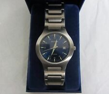 GENTS SEKONDA DATE WATCH BRUSHED STEEL BLUE FACE 03405