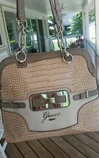 Guess handbag pink cream silver chain dome