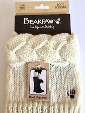 BEARPAW Cable Knit Boot Topper Women Ivory One Size  Women's Accessories NWT