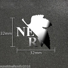 Anime Evangelion EVA Cosplay Silver 3D Metal Decal Phone PC Car Sticker