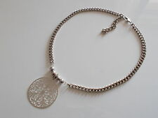 Collier Estampe Grosse Chaine Argent Huge Silver Filigrane Necklace Fashion