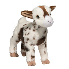 "GERTIE by Douglas 12"" stuffed animal GOAT WHITE BROWN SPOTS plush cuddle toy"