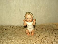 ANTIQUE VINTAGE SIGNED JAPAN PORCELAIN BISQUE BABY BOY MINIATURE 4'' DOLL AS IS