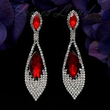 Rhodium Plated Ruby Red Crystal Rhinestone Chandelier Drop Dangle Earrings 00767