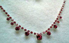 PINK RHINESTONE CRYSTAL SILVER FINISH NECKLACE AND PIERCED EARRING SET-CZECH