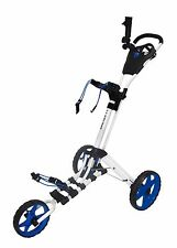 Founders 2016 Qwik Fold 3.5 3 Wheel Golf Push Pull Cart Trolley- White