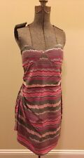 Parker Dress Ruched Size S Pink Gray Anthropologie Chevron