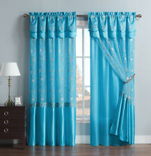 Blue One Piece Window Curtain Drapery Sheer Panel: Attached Backing and Valance