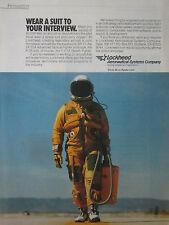 8/1989 PUB LOCKHEED PILOT SPACE SUIT OXYGEN SR-71 BLACKBIRD COMBINAISON VOL AD