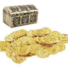 50 Pcs 34mm Pirate Gold Play Coins Party Favors Pinata Money Plastic Coins Toy