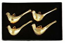 Pack of 4 Champagne Gold Glass Bird Tree Decorations - Christmas Decorations