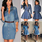Women Ladies Long Sleeve Slim Casual Denim Jeans Party Pleated Mini Shirt Dress