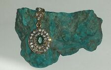 Lovely Vintage Two Toned Sterling Silver With Emerald & White Topaz Pendant