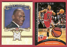 MICHAEL JORDAN & SCOTTIE PIPPEN 2 CARDS GAME USED JERSEY TOPPS CHAMPIONS BULLS