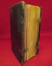 GERMAN PRAYER BOOK 1838 Clasped FULL LEATHER Bible RELIGIOUS Christian ANTIQUE