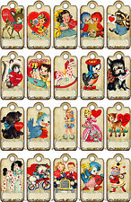 20 MINI VALENTINE'S DAY CHILDREN RETRO HANG / GIFT TAGS FOR SCRAPBOOK PAGES (29)