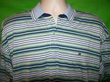 TOMMY HILFIGER Casual Polo Style Shirt XL (Blue/Green/White Striped) 100% Cotton