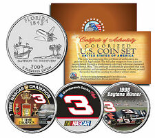 "DALE EARNHARDT ""7X NASCAR CHAMPION/1998 DAYTONA 500"" FLORIDA QUARTER 3 COIN SET!"