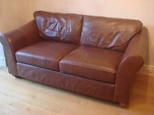 M&S Marks & Spencer Abbey Small Brown Fine Leather 3 Seater Sofa, Settee, Couch