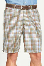 TOMMY BAHAMA COPOLLA CHECK FLAT FRONT LINEN BLEND SHORTS MILITARY MENS SIZE 38