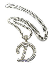 "Silver Hip Hop Iced Out Letter Initial D Alphabet 36"" Cuban Chain Crystals New"